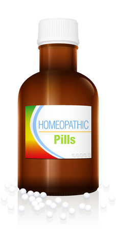 Homeopathic pills. Medicine bottle with white globules for alternative medical treatment. Isolated vector on white.