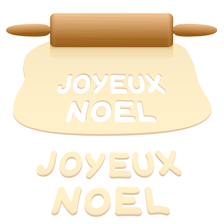 Merry Christmas cookies cut out from pastry dough saying JOYEUX NOEL in FRENCH language. Illustration