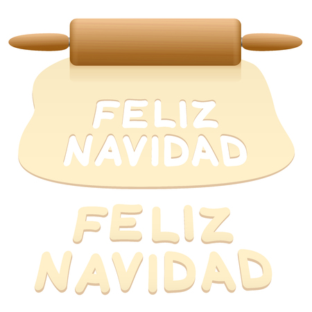 Merry Christmas cookies cut out from pastry dough saying FELIZ NAVIDAD in SPANISH language.
