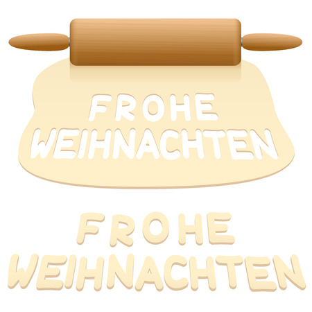 Merry Christmas cookies cut out from pastry dough saying FROHE WEIHNACHTEN in GERMAN language. Illustration