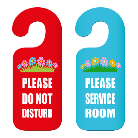Two door hangers to cut out. PLEASE DO NOT DISTURB and PLEASE SERVICE ROOM. Isolated vector illustration on white background. Illustration