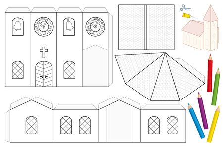 Bastelbogen aus Kirchenpapier. Unbemalte ausgeschnittene Vorlage für Kinder zum Ausmalen und Herstellen einer 3D-Modellkirche mit Kirchturm, Kirchenschiff, Dächern, Buntglasfenstern, Tür, Kreuz, Glockenturm, Turmuhr.
