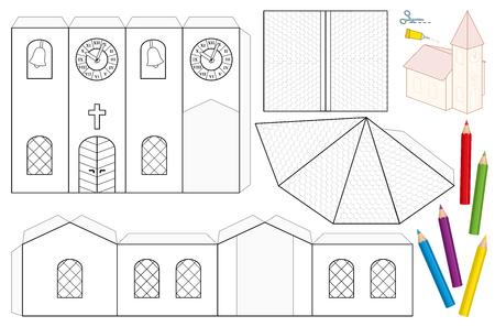 Foglio di carta da chiesa. Modello da ritagliare non dipinto per bambini per colorare e realizzare un modello in scala 3D di una chiesa con campanile, navata, tetti, vetrate, porta, croce, campanile, orologio da torre.
