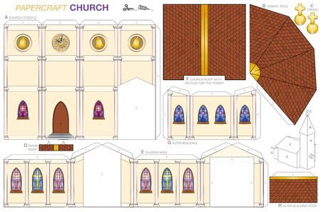 Church building paper craft model. Cut-out sheet for making a detailed 3d scale model church with steeple, nave, altar extension, colorful windows, belfry, tower clock, shingle roofs and golden cross.