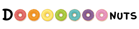 Donuts - word as image with colorful donuts instead of the letter O. Rainbow colored collection.