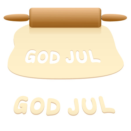 Merry Christmas cookies cut out from pastry dough saying GOD JUL in SWEDISH language. Illustration