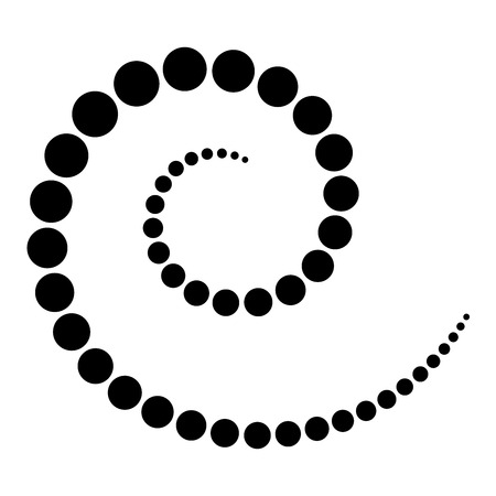 Spiral made of black dots. Increasing points from the center of the spiral which then become smaller again. Black isolated illustration on white background. Vector.