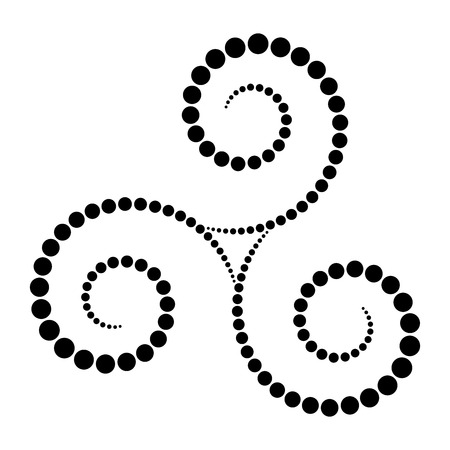 Black dotted Celtic triskelion spiral. Increasing points from the center of the spirals forming a triple spiral. Twisted and connected spirals. Isolated illustration on white background. Vector.