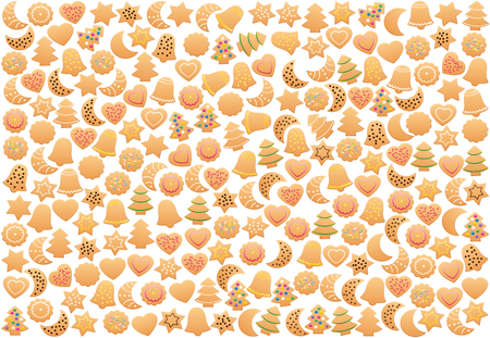Christmas cookies loosely arranged. Many shortbread biscuits with different familiar shapes and colorful sweet decorations. Isolated vector illustration on white background.
