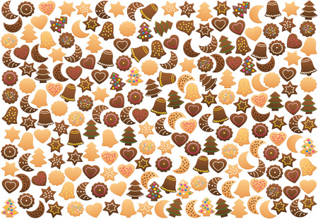 Christmas cookies background, loosely arranged. Plenty of shortbread biscuits, gingerbread and chocolate cookies, with different familiar shapes and colorful candy decorations. Isolated on white.