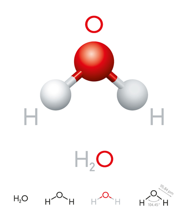 H2O. Water molecule model, chemical formula, ball-and-stick model, geometric structure and structural formula. Polar inorganic compound, tasteless and odorless liquid. Illustration over white.