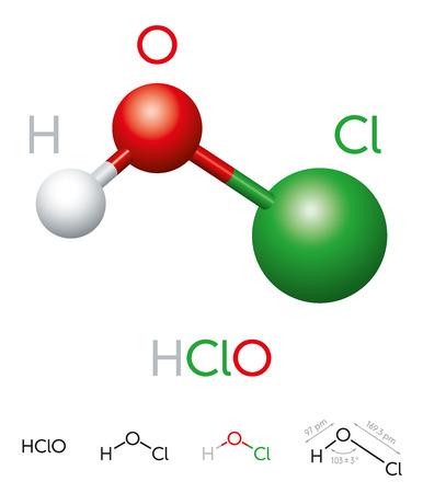 HClO. Ácido hipocloroso. Modelo de molécula, fórmula química, modelo de bola y palo, estructura geométrica y fórmula estructural. Ácido débil y agente desinfectante. Ilustración sobre fondo blanco.