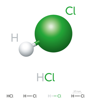 HCl. Cloruro di idrogeno. Modello molecolare, formula chimica, modello palla e bastone, struttura geometrica e formula strutturale. Alogenuro di idrogeno. Acido cloridrico. Illustrazione su sfondo bianco. Vettore