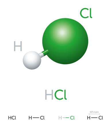 HCl. Waterstofchloride. Molecuulmodel, chemische formule, bal-en-stokmodel, geometrische structuur en structuurformule. Waterstofhalogenide. Zoutzuur. Illustratie op witte achtergrond. Vector