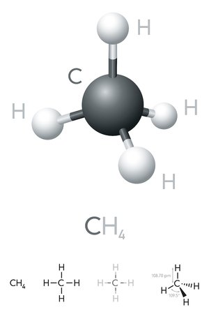 Methane, CH4, molecule model and chemical formula. Chemical compound. Marsh gas. Natural gas. Ball-and-stick model, geometric structure and structural formula. Illustration on white background. Vector