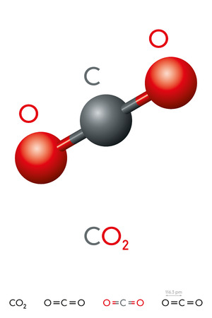 Carbon dioxide, CO2, molecule model and chemical formula. Carbonic acid gas. Colorless gas. Ball-and-stick model, geometric structure and structural formula. Illustration on white background. Vector Illustration