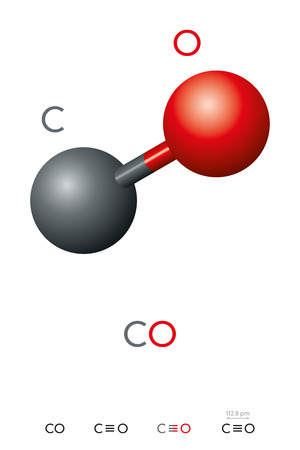Carbon monoxide, CO, molecule model and chemical formula. Toxic gas and less dense than air. Ball-and-stick model, geometric structure and structural formula. Illustration on white background. Vector. Ilustração Vetorial