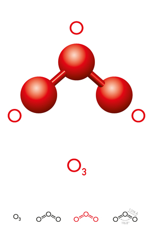 Ozone, O3, trioxygen, molecule model and chemical formula. Inorganic pale blue gas with pungent smell. Ball-and-stick model, geometric structure and structural formula. Illustration over white. Vector Illustration