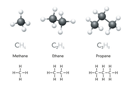 Methane, ethane, propane molecule models and chemical formulas. Organic chemical compounds. Natural gas. Ball-and-stick model, geometric structure, structural formula. Illustration over white. Vector. Illustration