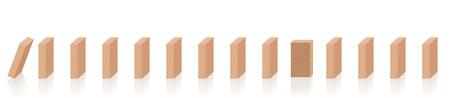 Lancer le système. Une pièce de domino est mise en croix et résiste en bloquant la réaction en chaîne. Symbole de fermeté, de force, de constance, de refus, de résistance ou d'imperturbabilité. Vecteurs