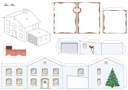 Paper model of a house in winter with christmas tree, snowman and snowy roofs and a chimney for Santa Claus - easy to make - print template on heavy paper, cut the pieces out, score, fold and glue it.