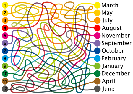 Twelve months of the year labyrinth. Connect the colored lines, find the right way through the tangled colorful maze from one end to the other. But take note, the colors of the lines are changing.