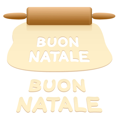 Merry Christmas cookies cut out from pastry dough saying BUON NATALE in ITALIAN language. Illustration
