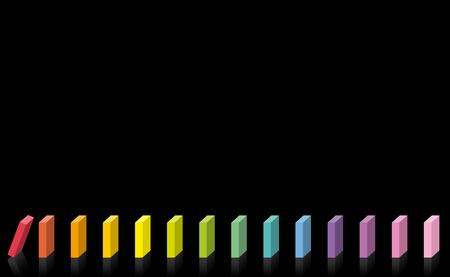 Domino-Linie. Buntes Kinderspielzeug für Konzentration, Spiel und Spaß. Regenbogenfarbene Kettenreaktion. Der erste rote startet, die anderen Dominosteine stehen noch. Vektor auf schwarzem Hintergrund. Vektorgrafik
