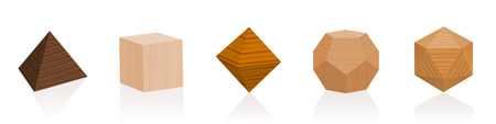Platonic solids. Wooden parts from different trees. Geometric woodwork sample set with various colors, glazes, textures. Isolated vector on white background. Illustration