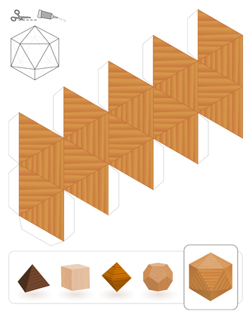 Platonic solids. Template of a icosahedron with wooden texture to make a 3d paper model out of the triangle net. Illustration