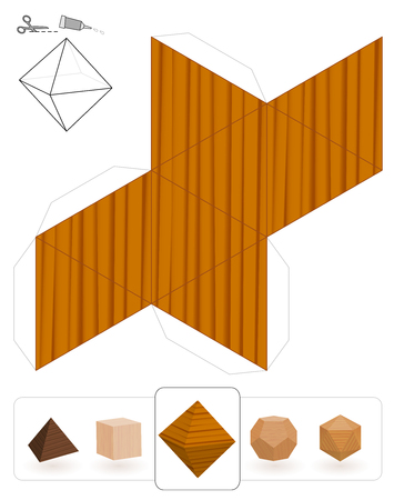 Platonic solids. Template of a octahedron with wooden texture to make a 3d paper model out of the triangle net. Illustration