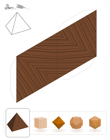 Platonic solids. Template of a tetrahedron with wooden texture to make a 3d paper model out of the triangle net. Illustration