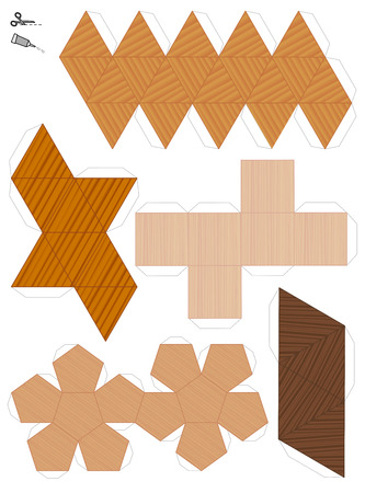 Paper models of the five platonic solids. Wooden textured templates to cut out and make five geometrical figures. Sample set with different textures. Illustration
