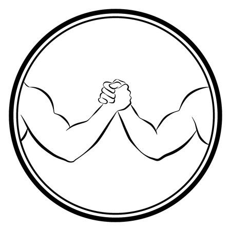 Arm wrestling competition. Isolated round logo outline vector illustration on white background. Illustration