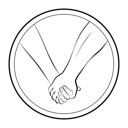 Holding hands of a love couple. Isolated round logo outline vector illustration on white background. Illustration