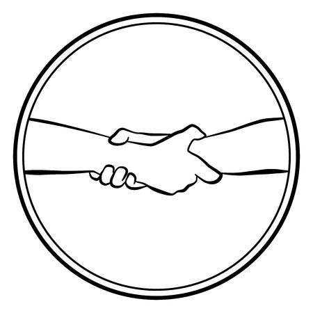 Presa che aiuta a salvare le mani. Illustrazione di vettore di contorno logo rotondo isolato su priorità bassa bianca.