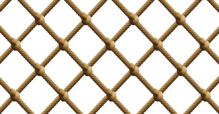 Geknotetes Netz, nautisches Seil-Fischernetzmuster. Isolierte Vektor-Illustration auf weißem Hintergrund.