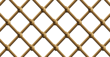 Knotted net, nautical rope fishing net patter. Isolated vector illustration on white background. Illustration