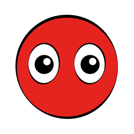Round red cartoon face with big eyes. Simple isolated illustration on white background.