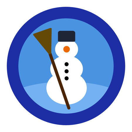 Snowman logo, blue sky, round blue frame. Simple isolated illustration on white background.