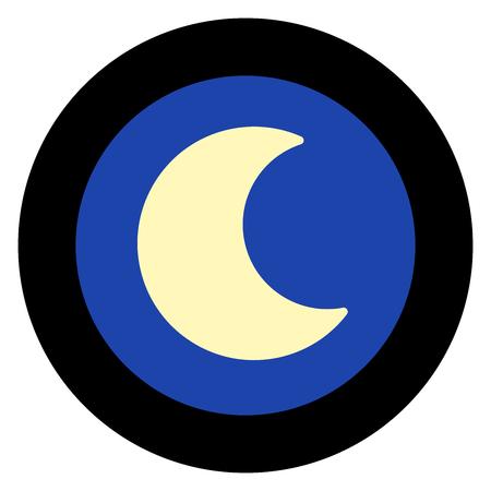 Moon logo, night sky, round black frame. Simple isolated illustration on white background.