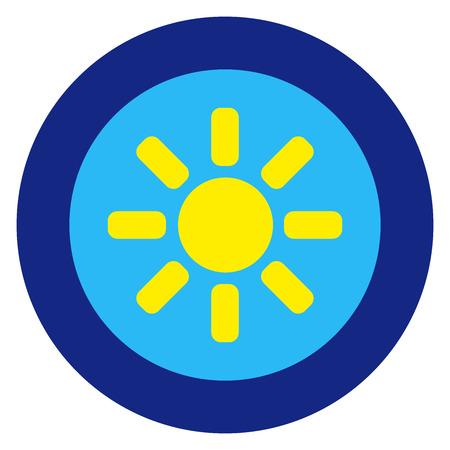 Sun logo, blue sky, round blue frame. Simple isolated illustration on white background.