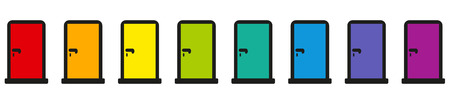 Door icons. Rainbow colored pictogram collection of eight colorful doors. Illustration