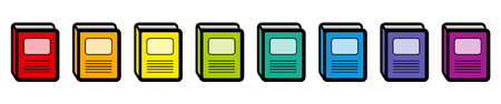 Book icons, rainbow colored collection. Isolated vector illustration on white background. Illustration