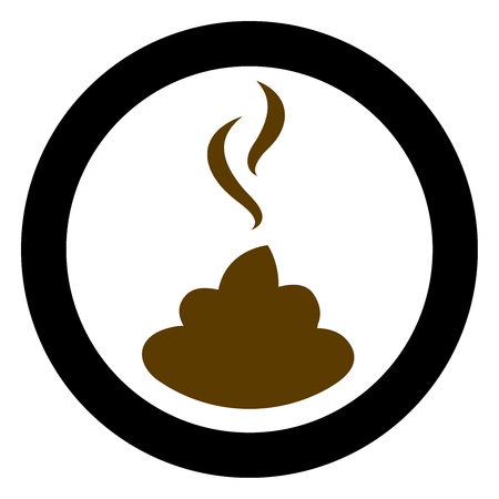 Shit icon. Stinky brown pictogram with black round frame.