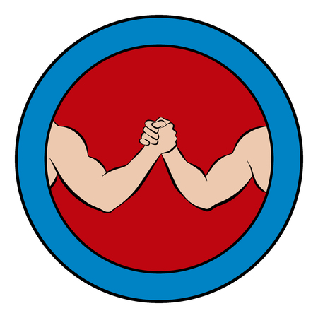 Arm wrestling logo. Round pictogram with red center and blue frame. Illustration of two strong, muscular arms in competition.