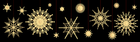 Straw stars. Different old fashioned vintage Christmas tree deco. Vector illustration on black background.
