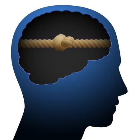 Knoop hoofd. Mentale blokkade. Denk barrière. Gesymboliseerd met een geknoopt touw in de hersenen van een jongere.