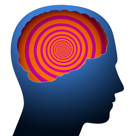 Mental confusion, dizziness, symbolized with a psychedelic spiral in the brain of a young person. Banco de Imagens - 116939075