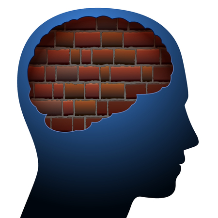 Mental block. Thinking barrier. Symbolized with a brick wall in the brain of a young person.